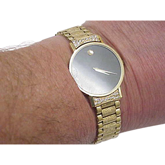Mens Vintage Movado 14k Solid Gold Bracelet & Case Diamond Watch