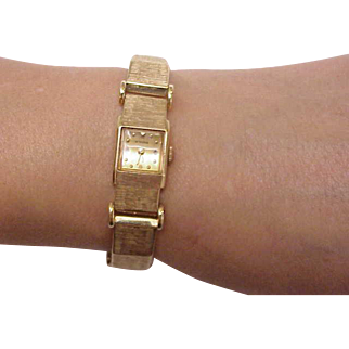 Unique Ladies Antique Otto Grun 14k Solid Gold Bracelet & Case Watch
