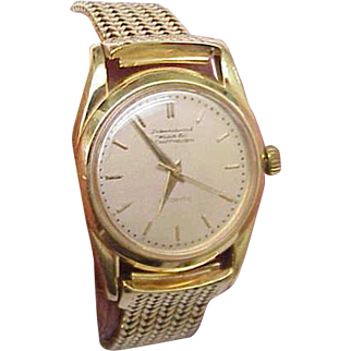 Mens Authentic IWC Schaffhausen Automatic 18k Solid Gold Watch Bracelet,1950s