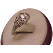 18K White Gold Antique Victorian Old Cut Paste Stone Ring, from 1800s