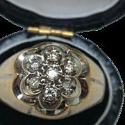 Estate Vintage Unisex 14kt Yellow Gold .50ct Diamond Cluster Ring,1950s