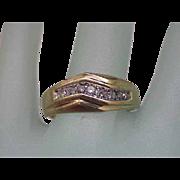 Estate Vintage 14K Gold Yellow 11 Diamonds Wedding Ring Band