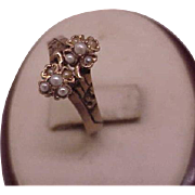 Antique Victorian 10k Rose Gold Carved Four Leaf Clover Seed Pearl Ring, 1860s