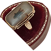 Antique Estate Victorian Natural Agate 10K Gold Ring, 1800s
