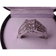 $ 8,000 Unisex 2.00ctw Natural Princess & Brilliant Cut Diamond 14k White Gold  Ring,Comes with the Appraisal Certificate
