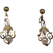 Stunning pair of 10k Yellow Gold Victorian Genuine Pearls Earrings, late 1800s