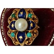 Incredible works of Art, Vintage Estate  Blue Enamel 750(18k) Yellow Gold Pearl and Turquoise Ring