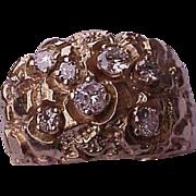 Estate Vintage 10K Yellow Gold 1.55ct Diamonds Nugget Wedding Ring Band