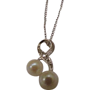 Estate Vintage Freshwater Pearl & Diamonds 14k White Gold Pendant and 14k Gold Necklace , Beautiful Piece!