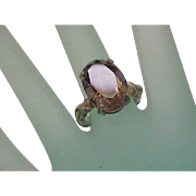 Estate Very Cute Huge Sterling Silver Genuine Smoky Quartz Ring, 1950's
