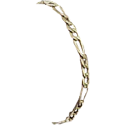"""Solid 18k Yellow Gold Figaro Link Chain Bracelet 7"""" Lobster Claw Clasp"""
