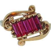 Art Deco 1920s Gatsby Era 10k 2CT Red Spinel Yellow Gold Fancy Ring