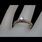 Vintage 10K Yellow Gold .20ct VS/F Brilliant Cut Diamond Ring, 1930s