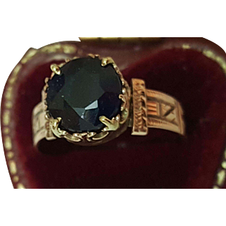 Antique Victorian 12K Rosey Gold Genuine Huge 2.00carats Solitaire Blue Sapphire Ring, 1860s
