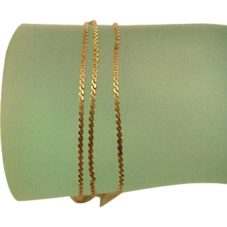 "Amazing! Estate Unisex 14k Yellow Gold Very Rare  Style Necklace ,24"", 4.6gr,1.5mm, 1950s"