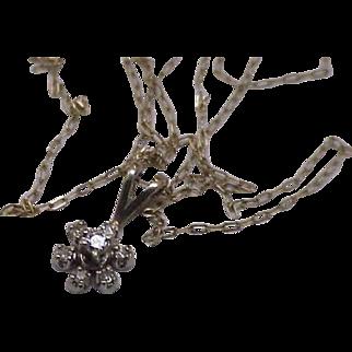 Estate Vintage .30ctw Diamonds 14kt White Gold Pendant Necklace, Beautiful Piece!