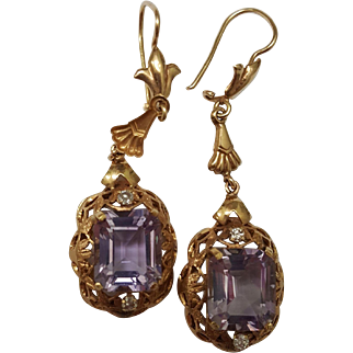 Estate Art Deco 18k Gold Huge Natural 12.25carats Amethyst and Diamonds Dangle Earrings, c 1930s!