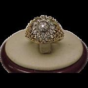 Art Deco 18kt Gold Platinum .75ct Diamond Filigree Ring
