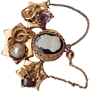 $5000 Antique Victorian Unique 14k Yellow Gold Amethyst Garnet Pearl Cameo Brooch- Pendant, Appraisal included !