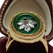 Incredible works of Art, Victorian Green Enameled 750(18k) Yellow Gold Genuine Ruby & Rose  Cut Diamonds