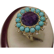 Vintage  Unique Magnificence Large Genuine Amethyst Turquoise and Diamonds 10kt Yellow Gold Ring
