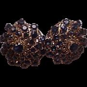 Estate 14K Rose Gold 8.00ct Genuine Sapphire Clip-On Clip On Earrings,13.6gr