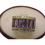 Estate Vintage  14K Yellow Gold Heavy, 14.1 Gr , RING: 10.00 ct Genuine Amethysts & Diamonds!