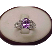 Art Deco  18k White Gold Gorgeous Very Rare Violet Pink Sapphire and Diamond Filigree Engagement Ring