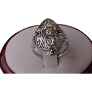 Unique 18K White Gold  Filigree Ring: .50ct Old European Cut Diamond & Sapphires,ART DECO