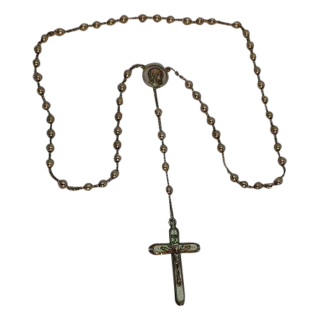 Sterling Sliver Rosary with Enameled Crucifix
