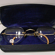 Vintage  14K Gold  Wire  Rim Glasses With Original Eye Glass Case