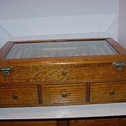 Antique Optometrist  2 Section Optical Oak Display Case