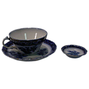 Henry Alcock & Son Touraine Cup and Saucer Set And Butter Pat Flow Blue