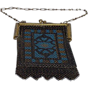 "Art Deco Enamel Metal Mesh Purse Signed ""Elsam"""