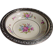 Tirschenreuth Queens Rose Bowl With Sterling Rose  Rim