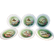 6 Fish Plates By L.R.&L. Limoges France