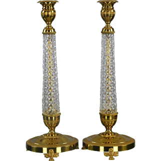 Equisite Pair  Of French Cut  Crystal Candle Holders Mounted in Bronze