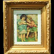 Antique Gold Ornate Gesso Frame With An Original Antique Print