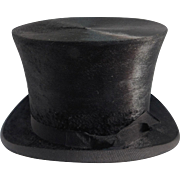 Antique Beaver Top Hat With Hat Box