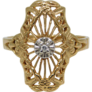 10K Yellow Reticulated Diamond Ring