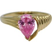 10K Yellow Gold Pink Ice Tear Drop Ring