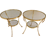 Pair Of  Italian Mid Century Modern  Brass And Glass Swan Two Tiered Tables
