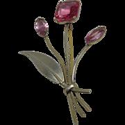 Vintage Cora Pink Stone Sterling Brooch
