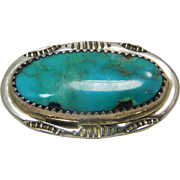 Oval Turquoise  Southwestern Sterling Pin Artist Signeds