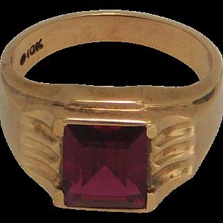 Man's Ruby Ring 10K Yellow Gold