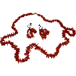 Vintage Natural  Branch  Coral  Necklace and Earrings