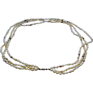 Multi Strand Fresh Water Cultured  Pearl Necklace With 14K  Gold Accents