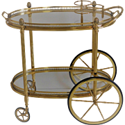 European  Brass Bar Serving Cart