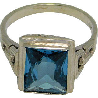 Vintage Blue Topaz Ring 14K White Gold