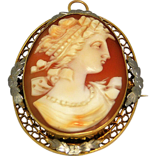 14k Yellow And White Gold Cameo Pendant/ Brooch